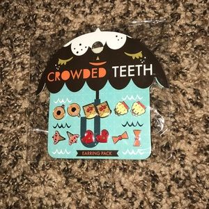 Crowded Teeth food-shaped cartoon earring pack